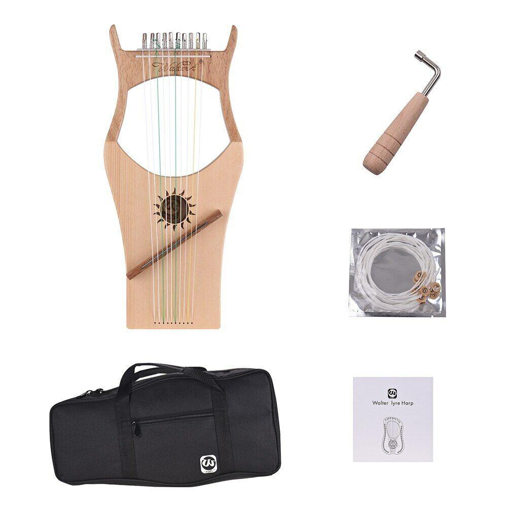10 Nylon String Wood Lyre Harfe Topboard Gummi WH03 w Carry Bag
