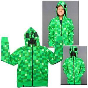 Minecraft-Creeper-Kids-Boys-Youth-Sweat-a-capuche-zippee-manteau-Pull-gilet