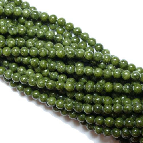 Foncé Vert 6 mm 1 Strang Gemmes Bacatus #4594 Jade Pine Farbend