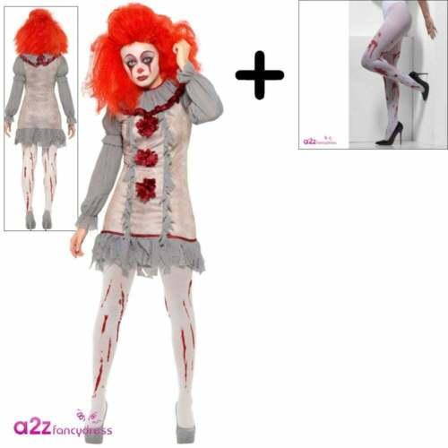 VINTAGE Clown Costume Da Uomo Donna Halloween Horror Pennywise Costume Vestito