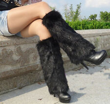 black 40cm Fashion faux fur funky leg warmers boots cover club dance shoes cover