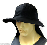 Boonie Hat Cap Sun Flap Bucket Hat Ear Neck Cover Cool Soft Material - Black