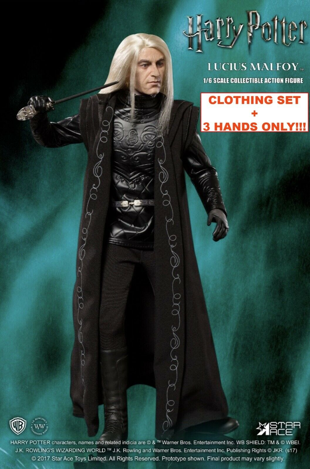 1 6 Scale STAR ACE (Harry Potter) Lucius Malfoy - CLOTHING SET + HANDS (3X)