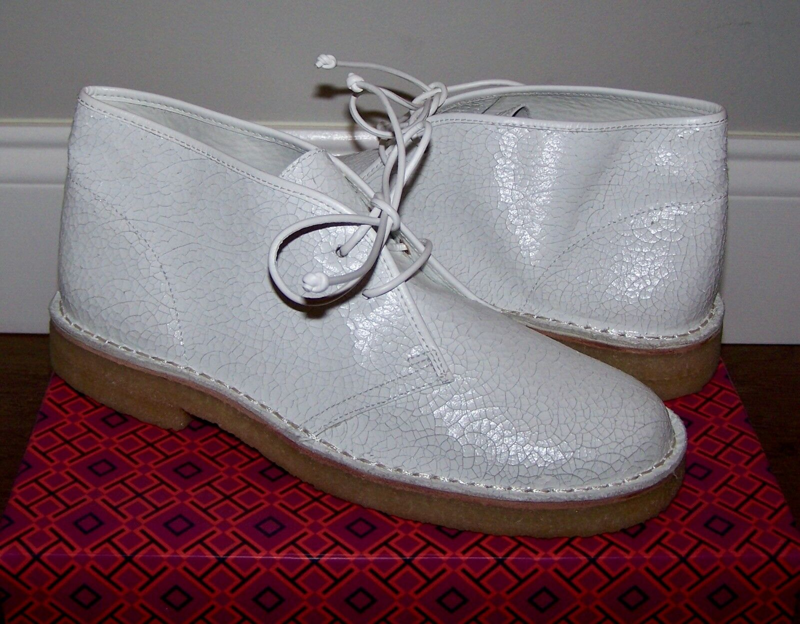 350 NEW femmes TORY BURCH BERGEN CRACKLED LEATHER DESERT CHUCKA bottes chaussures 8.5