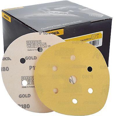 "Mirka Gold Hook-It DA Sanding Discs Ø 150mm 6"" 180 Grit 6+1 Hole Sander Pads"