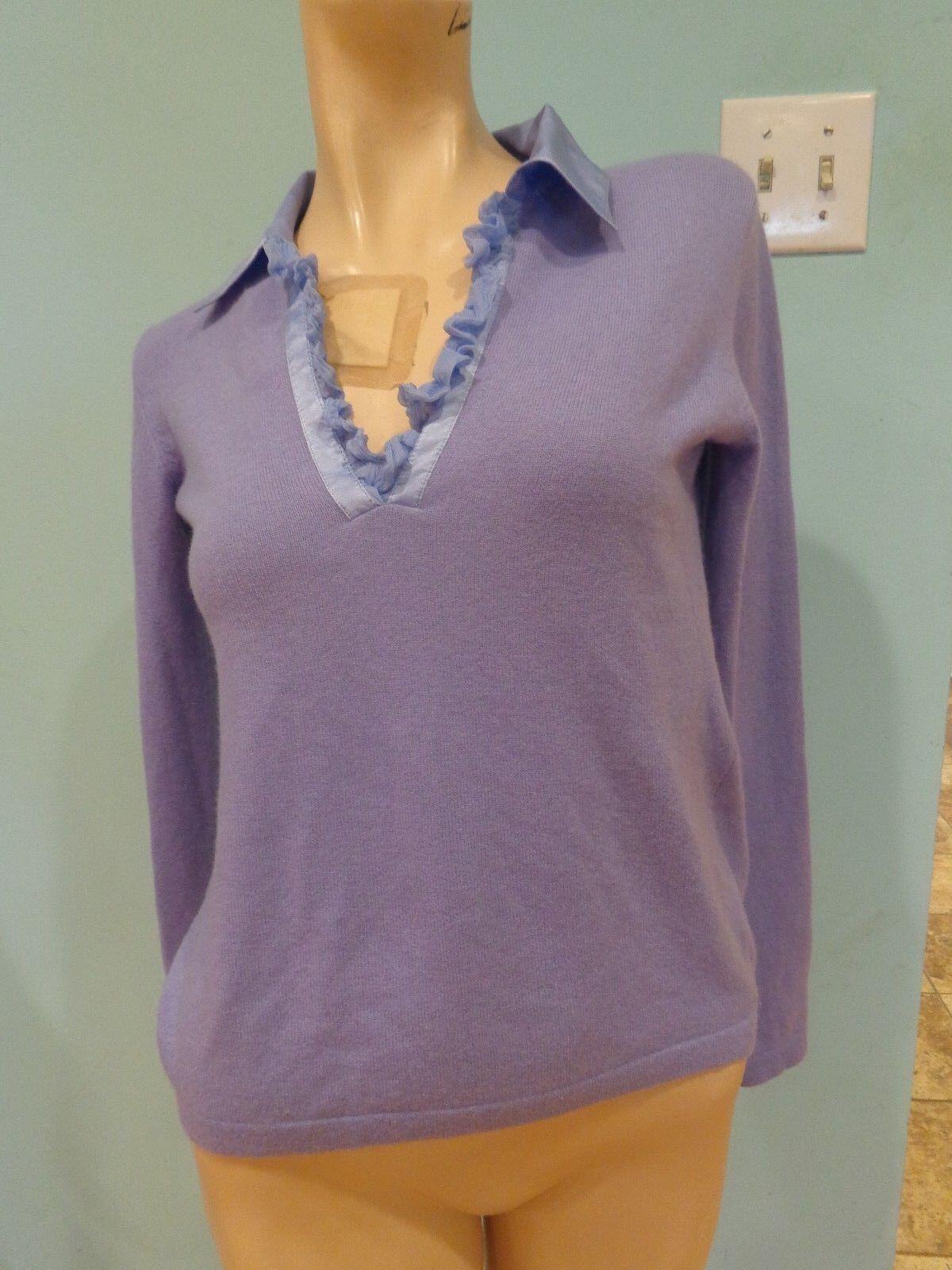Bongenie Grieder NWOT Light Purple 100% Cashmere Size XS Satin Ruffle Trim