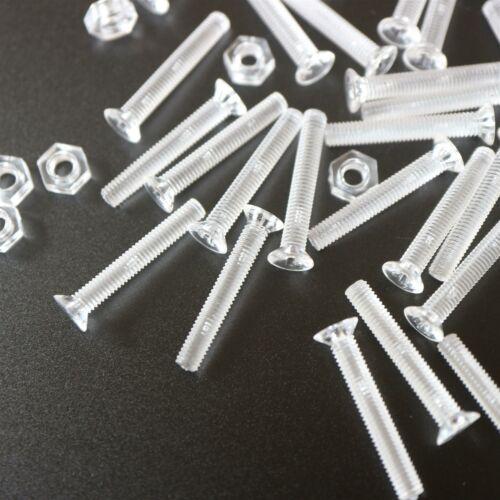M2x20mm 50 Kreuzkopf-Senkschrauben mit Muttern transparenter Acryl-Kunststoff