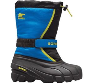 Children/'s Sorel Kids/' Flurry Boot Black//Super Blue Synthetic//Textile