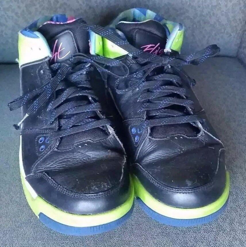 Nike Leather Shoes Air Jordon Men's Flight Neon Green Black Blue Basketball 8.5