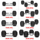 Rubber Hex Dumbbells Coated Cast Iron Fitness Chrome Weight Pair 5 10 15 20 lbs