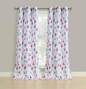 "2 Room Darkening Window Curtains Ballerina Ballet Dancer Grommet Panel Pair, 84"" 751571504120 | eBay"