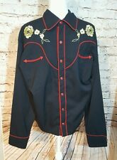 Scully western shirt Rockabilly embroidered yellow flowers black mens large