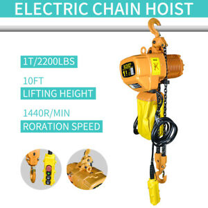 Electric-Chain-Hoist-2200-lb-Electric-Crane-Hoist-HD-Super-1-Ton-10ft-Lift