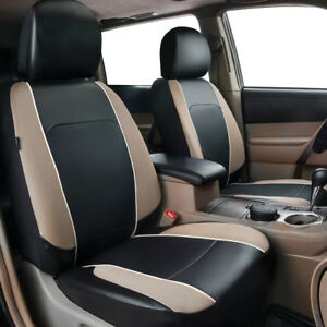 Universal-Beige-2-Front-Car-Seat-Covers-Leather-Mesh-Airbag-Breathable-for-Sedan