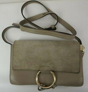 Details zu Chloe Small Faye Suede & Leather Motty Grey Gray Crossbody Bag Purse.
