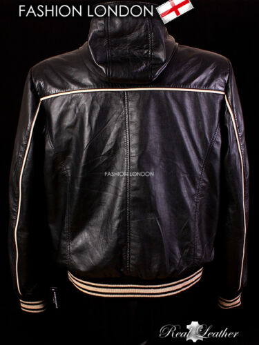 /'SARACEN/' Black Men/'s Real Nappa Lambskin Leather Cool Slim Fitted Hooded Jacket