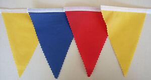Calcio-Festa-Bandierine-Giallo-Blu-amp-Bandiere-rosse-in-Tessuto-Decorazione-2MT-o-piu