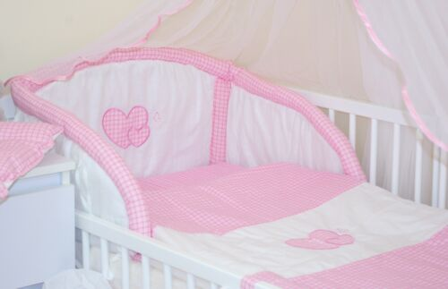 HEARTS 7 PCS BABY BEDDING SET 10 DESIGNS 2 SIZES - FITS COT OR COTBED