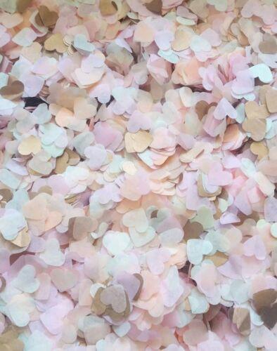 Or Rose light rose Ivoire peach cœur Confettis Mariage 2-25 Poignées//Cônes