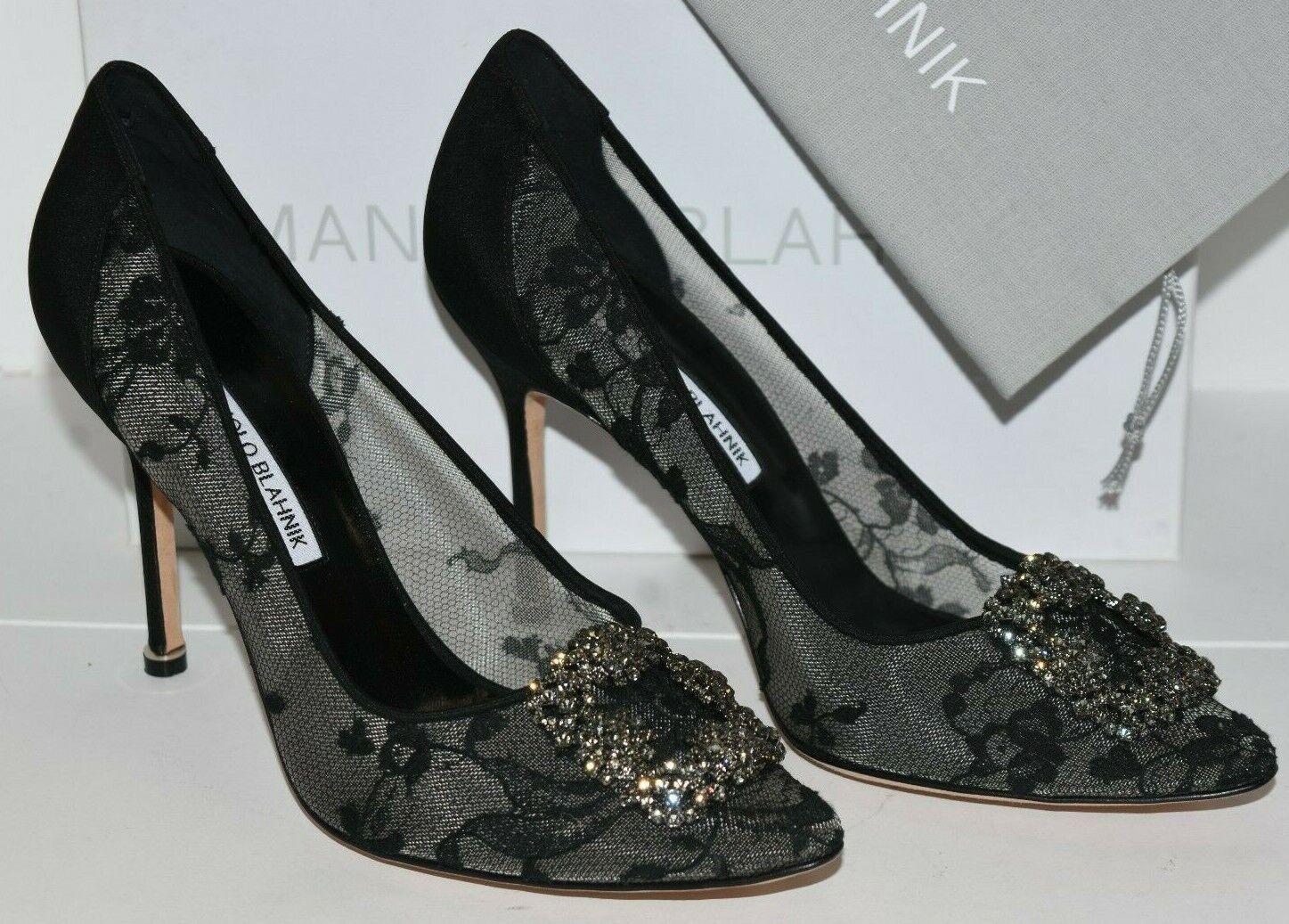 1055 NEW Manolo Blahnik HANGISI 105 LACE Black Jeweled Pumps Buckle Heels 40