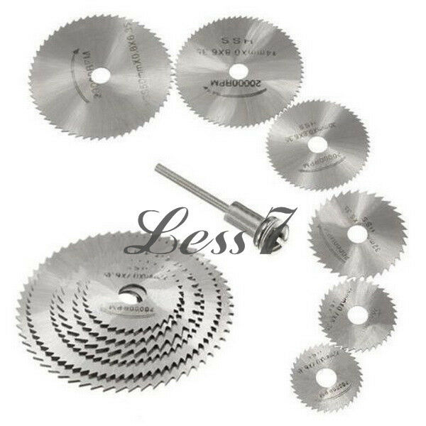 "6 Size High speed steel circular saw blades & 1/8"" shank screw mandrel RPM 20000"