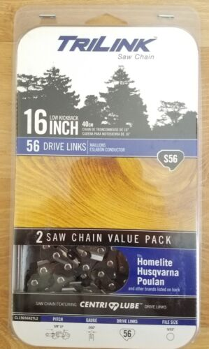 TriLink S56 Two-Pack Set Replacement Saw Chain 16-inch Fits Various Models New