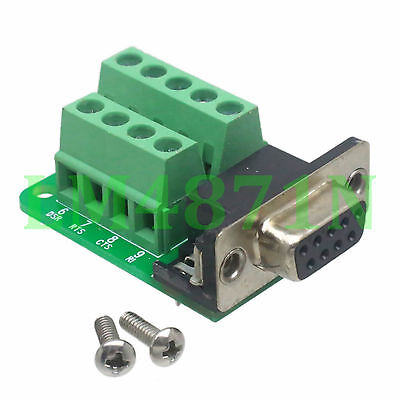 DB9 D-SUB VGA female jack 9pin port Terminal Breakout PCB RS232 2row without nut