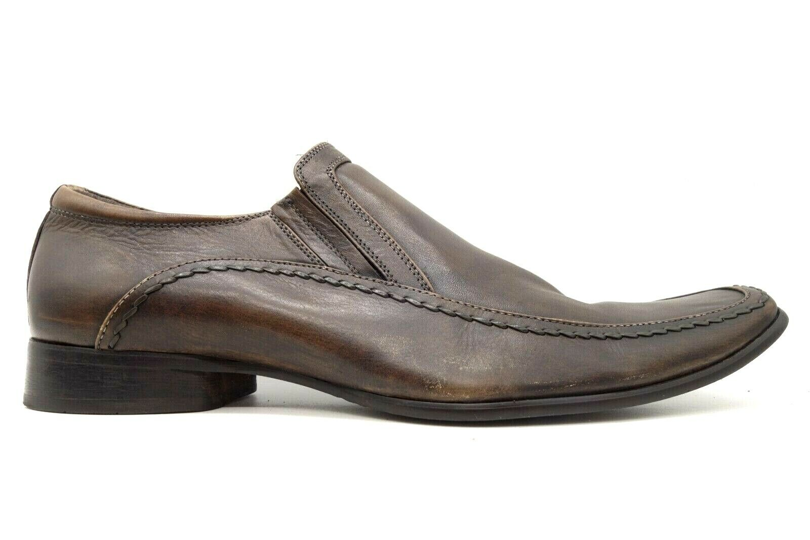 Kenneth Cole Reaction Key Note Brown Leather Slip On Loafers Shoes Men's 12 M