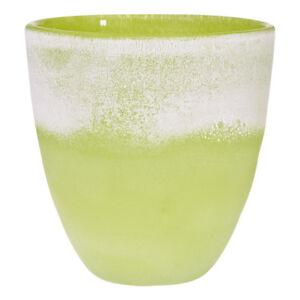 Vase Blumenvase ~COLORI~ gruenpat H=16cm Handmade (ART GLASS CRISTALICA) GW02856