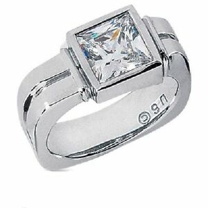 2-11-carat-PRINCESS-DIAMOND-Engagement-Solitaire-14K-White-Gold-Mens-Ring-SI1