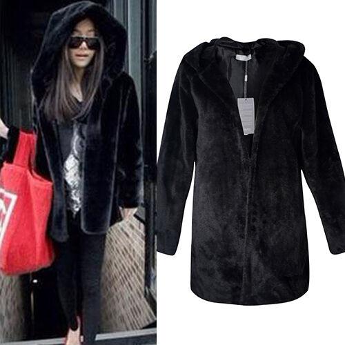 New Warm Women Winter Outerwear Black Ladies Faux Fur Parka Hooded Jacket Coat