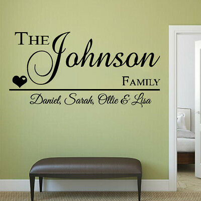 quote decal surname Personalised name wall art sticker kitchen bedroom decor