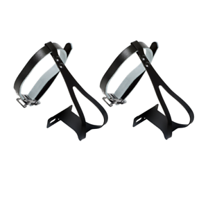 Bicycle Chrome Steel Medium Toe Clips with Black Leather Toe Straps Combo