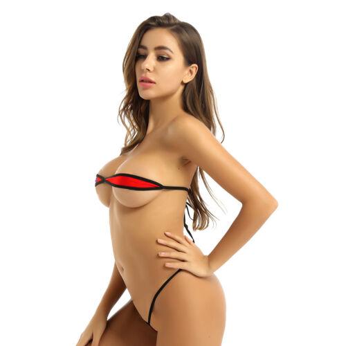 2Pcs Womens ube Bra Top  Micro Bikini Lingerie Set Swimwear Swimsuit Beachwear