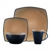 Dishes Lounge Square 16-piece Dinnerware Set Taupe 16pc Home Plate Pc Mug Kitchen on Sale