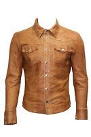 Men's M114 Tan Adjustable Collar Casual Retro Soft Real Leather Shirt Jacket