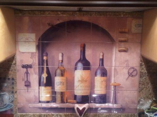 18 x 12 Art Mural Ceramic Wine Bottle Decor Backsplash Bath Tile #318