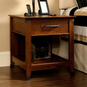 Craftsman-Mission-Side-End-Table-Nightstand-with-Wrought-Iron-New-Made-USA