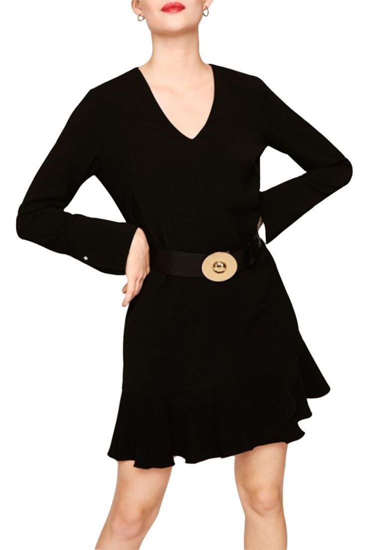 Tara jarmon-Para  Mujer Vestido De Crepé Dobby-Negro  respuestas rápidas