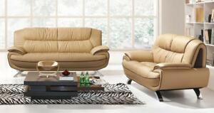 Details about Beige Chic Italian Leather Sofa Set 2 Pcs ESF 405 Modern  Contemporary Modern