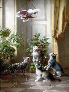 Parrot And Cat Tile Mural Kitchen Bathroom Wall Backsplash