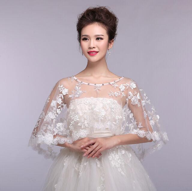 Womens Elegant Floral Lace Cape Wrap Shrug Shawl Coat Wedding Dress Bridal Shawl