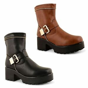 Womens-Ladies-Block-Chunky-Mid-Heel-Platform-Gothic-Punk-Ankle-Boots-Shoes-Size