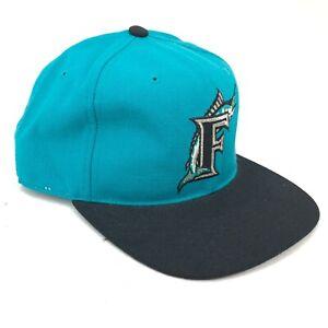 Vintage-Florida-Marlins-American-Needle-Foco-Entallado-Lana-Gorra-Verde-Azulado