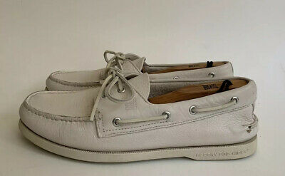 Ivory Leather Boat Shoes 0195149