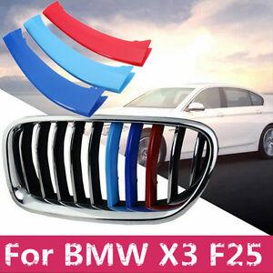 3-Colors-M-Tech-Copri-Cover-Griglia-Trim-Clips-No-Adesive-BMW-X3-F25-2011-2015