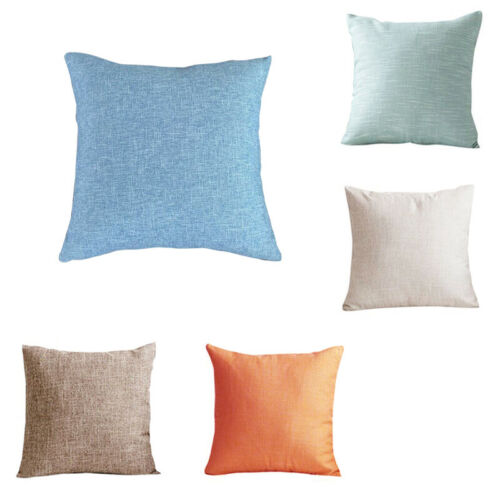 Pillow Cover Cotton Soft Plain Pillow Case Living Cushion Sofa Home Decor MA