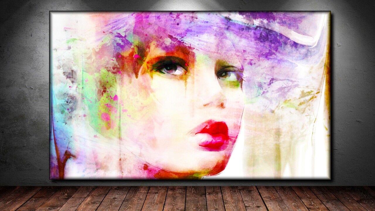LEINWAND BILD ER XXL POP Kunst GRAFFITI FRAU GESICHT ABSTRAKT MODERN POSTER 150x90