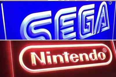 Sega Nintendo 2 Arcade Video Led Neon Light Signs Mancave Room New Ebay