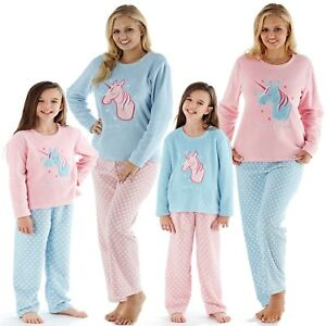 New Matching Mother & Daughter Noël Licorne Polaire Pyjama Famille-afficher Le Titre D'origine